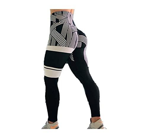 HAIBI Pantalones Yoga Mujer Leggings Pantalones De Mujer Leggings De Cintura Alta con Estampado De Rayas Leggings De Gimnasio Transpirables con Retales De Dos Colores Mujer, Gris, S