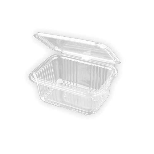 TELEVASO - 500 uds - Envase Recipiente para Comidas frías con Tapa bisagra Rectangular - Capacidad 500 ml - Polietileno (Pet) Transparente - Contenedores Desechables con Tapa