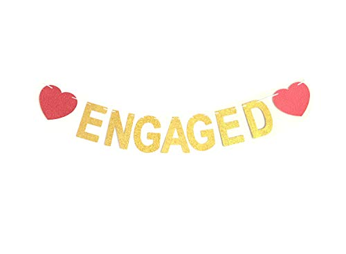 GZFY Engaged Banner Gold Glitter Bunting Garland   Engagement Party   Bridal Shower   Bachelorette Party Decorations   Photo Props Signs Red Heart