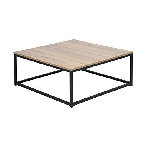 Navy Blue Salontafel vierkante, banktafel in woonkamer, kantoor, slaapkamer, woonkamer, stabiel ijzeren frame, industrieel ontwerp, vintagestijl, Eiken en zwart decor, Metalen structuur