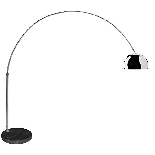 Lampada Ad Arco con Base Rotonda in Marmo Nero, Lampada da Terra Design Moderno, Struttura in Alluminio Cromato, Altezza 230 cm, Marmo Nero