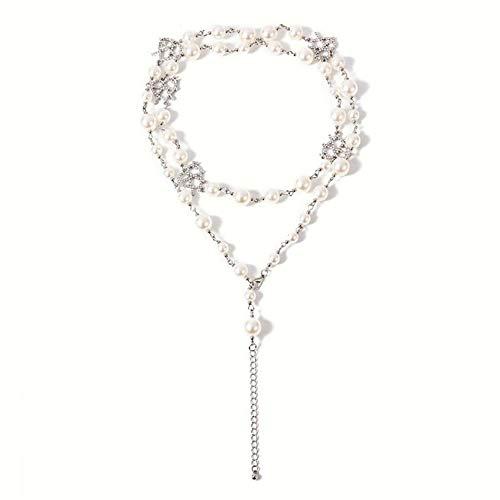 EMFGJ Long Elegant Faux Pearls Hollow Rhinestone Love Heart Muti-Layer Necklace Charm Adjustable Choker Women Teen Jewelry Girls Gift