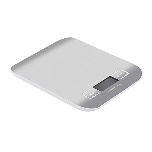 Básculas de cocina electrónicas balance 5Kg / 10Kg Herramientas de medición de cocina Báscula de horneado de alimentos de alta precisión Báscula de peso de acero inoxidable Plata 5Kg