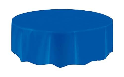 Mantel de Plástico Redondo - 2,13 m - Azul Rey