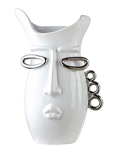 GILDE Vase Kuss - aus Keramik in weiß silber H 30,5 cm B 19 cm
