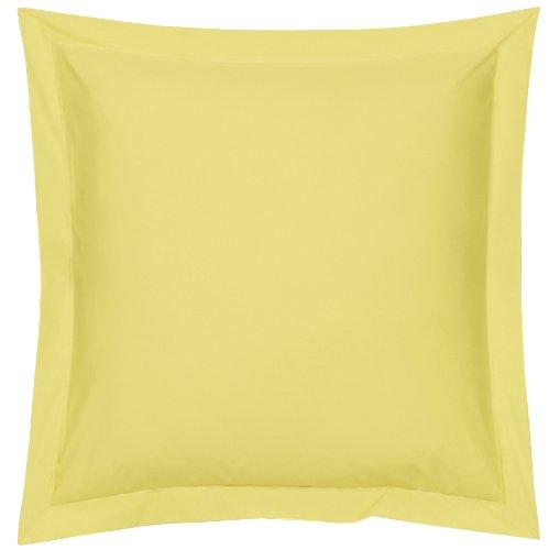 Blanc des Vosges Uni Percale Taie Coton Citron 65 x 65 cm