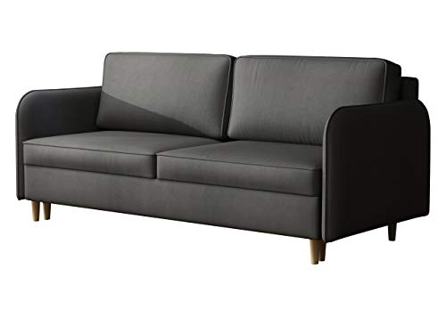 Mirjan24 Schlafsofa Gaja, Bettsofa Komfortsofa, 3 Sitzer Sofa mit Bettkasten und Schlaffunktion, Couch, Schlafcouch, Dauerschläfer-Sofa, Polstersofa Farbauswahl (Mono 247)