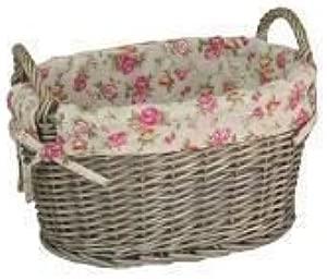 Large Garden Rose Lining Antique Wash Oval Wicker Storage Basket