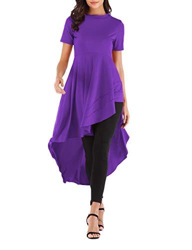 Women's Ruffle High Low Asymmetrical Irregular Hem Tops Short Sleeve Tunic Top Purple XL