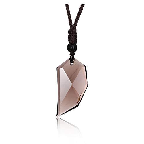 Jovivi - Collar para hombre, color negro obsidiana de diente de lobo con colgante de piedra natural, piedra preciosa, ajustable