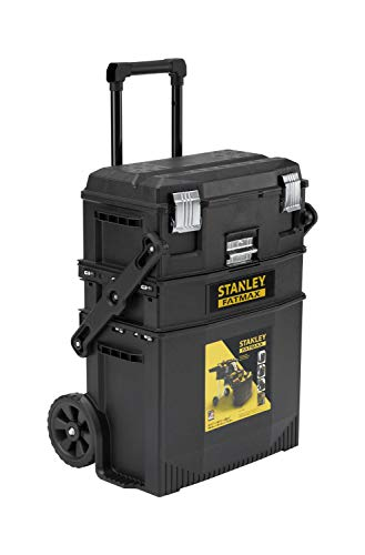 STANLEY FATMAX Cantilever Rolling Toolbox Trolley, 4 Level Workstation with Portable Tote Tray for Tools and Small Parts, 1-94-210