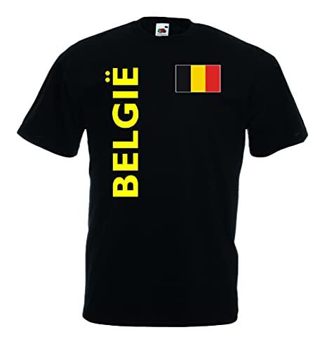 World-of-Shirt Herren T-Shirt Belgien Trikot Quer Fan Shirt|s-l