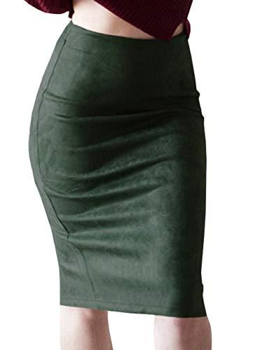SOMTHRON dames suède blaistiftrok mode elastisch hoge taille Midi Rock