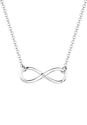 DIAMORE Halskette DIAMORE Damen Halskette mit Infinity Anhänger und Diamant (0.03 ct.) in 925 Sterling Silber 45 cm lang
