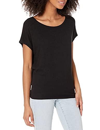 Amazon Brand - Daily Ritual Women's Cozy Knit Dolman Short-Sleeve Tie-Back Shirt, Black, XX-Large