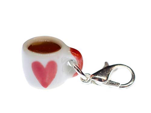 Miniblings Becher Herz Tasse Charm Anhänger Bettelanhänger Porzellan Kaffee Tee