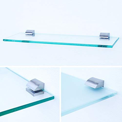 Glasregal 300x200x8mm | Klarglas + Halterung B - Chrom glanz optik