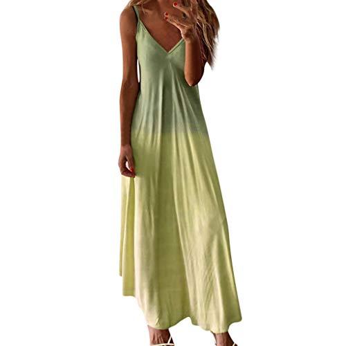 Yowablo Kleid Frauen Lässig Ärmelloses Leibchen V-Ausschnitt Maxi Tank Langes Kleid (M,gelb)