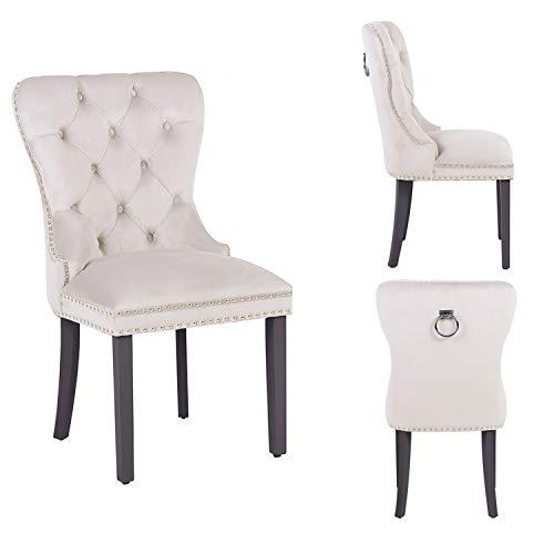 PS Global Juego de 2 sillas de comedor de terciopelo, botones profundos con tachuelas cromadas, fáciles de montar, hechas a mano, terciopelo de felpa (crema)