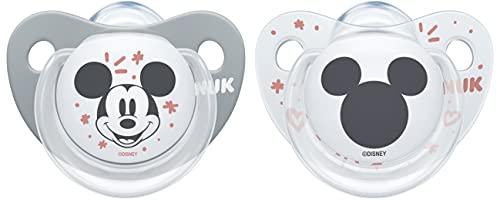 NUK Trendline Chupete | 0-6 meses | Chupete de silicona sin BPA | Disney Mickey Mouse | gris, 2 unidades