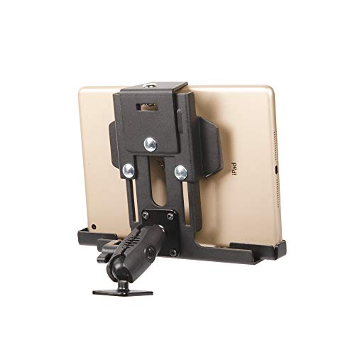 """Metal Locking Tablet Mount for Car, Truck or Semi - TACKFORM [ELD Ready] Heavy Duty Drill Base - iPad, Galaxy and Other Tablets with a 7-10"""" Screen Size"""