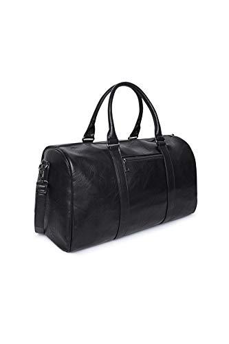 Eleccio Bella Bolsa Deporte Bolsa Gimnasio de Viaje Piel Impermeable Bolsos Deportivos Fin de Semana Travel Duffle Bag para Hombre y Mujer Negro