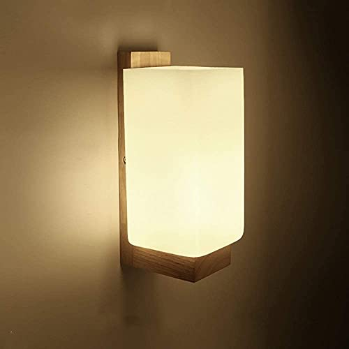CMMT lámpara de Pared Lámpara de Pared de Vidrio de Madera Maciza Simple nórdica Lámparas de iluminación Diámetro 11 cm Altura 25 cm 5-10 Metros Cuadrados Sala de Estar Dormitorio Comedor Pasillo