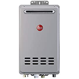 Rheem RTG-84XLN-1 Tankless Water Heater, Grey 1 Exclusive Water Savings technology conserving up to 1, 100 gallons per year 157, 000 BTU (gas consumed per hour) Exclusive Hot Start Programming minimizes cold water burst by staying in ready-fire state