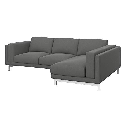 Soferia Funda de Repuesto para IKEA NOCKEBY sofá de 2 plazas con chaiselongue dcha, Tela Elegance Metal Grey, Gris