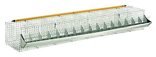 Euroshoppingonline Gabbia per Conigli ingrasso 16 posti Fondo a Rete con mangiatoia e abbeveratoio cm. 202 x 52 x H.30