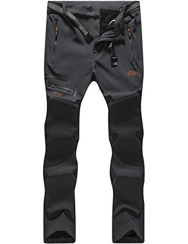 DAFENP Pantaloni Trekking Uomo Softshell Pantaloni Montagna Escursionismo Impermeabili Caldo Invernali All'aperto (XL, A Grigio Scuro)