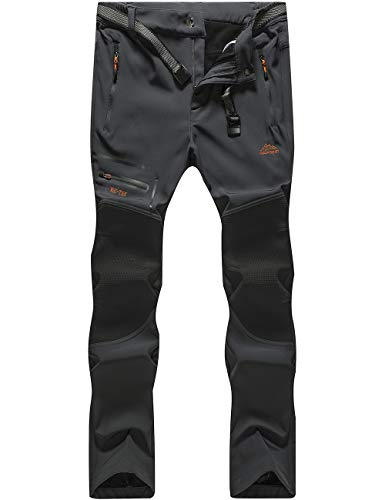 DENGBOSN Herren Wanderhose Wasserdicht Softshellhose Outdoorhose Winddicht Warm Gefüttert Winter Trekkinghose,KZ1602-Grey3-XL