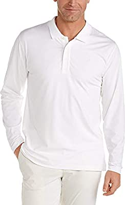 Coolibar UPF 50+ Men's Coppitt Long Sleeve Weekend Polo - Sun Protective (X-Large- White)