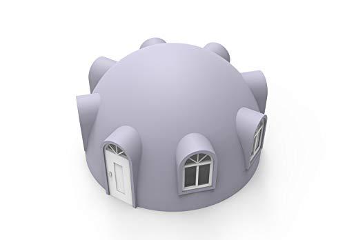 Carcasa prefabricada para exteriores con múltiples ventanas. 6 x 3,5 cm.