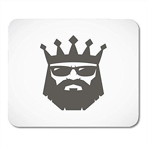 Mauspad Bart Bearded King Mit Sonnenbrille Crown Man Head Schwarz Altes Mauspad 25X30Cm