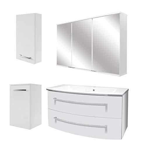 FACKELMANN licht badkamermeubel set 5-dlg. Rondo met wastafel onderkast 100 cm hangend gietijzeren wasbak & LED spiegelkast
