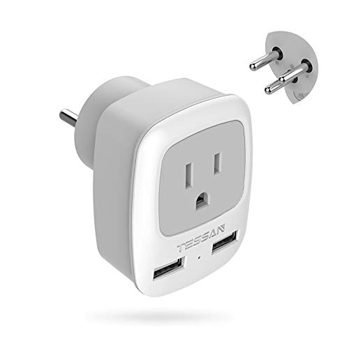 Israel Palestine Power Adapter Plug, TESSAN Type H 3-Prong Grounded Travel Plug Adaptor for US to Israeli with 2 USB Phone Charger & 1 American Outlet