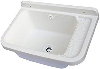 comprar comparacion mongarid pared lavabo de resina con Kit de montaje y para trampa, Blanco, 60 X 39 X 28 cm.