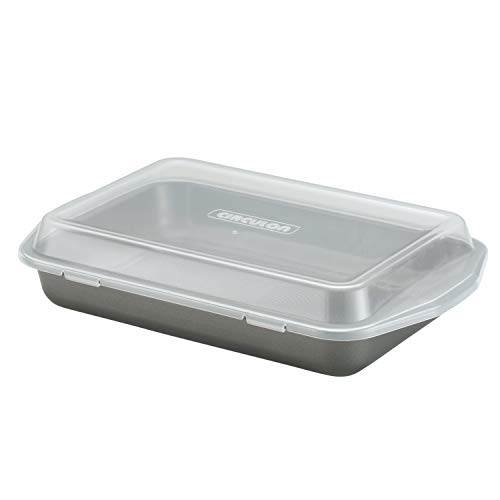 Circulon Total Nonstick Baking Pan With Lid / Nonstick Cake Pan With Lid, Rectangle - 9 Inch x 13 Inch, Gray