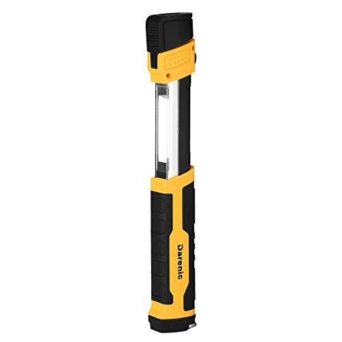 DARENIC LED Work Light 5W 500 Lumens Portable Extendable Work Light with Magnetic Base 90° Swivel Hook USB Rechargeable Flashlight Inspection Light for Car Repair Household Emergency2000 mAh