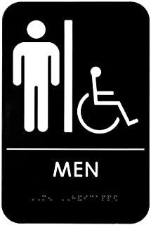 Alpine Industries Men's Braille Handicapped Restroom Sign - ADA Compliant Self Adhesive Black & White Bathroom Placard for Offices, Restaurants & Businesses