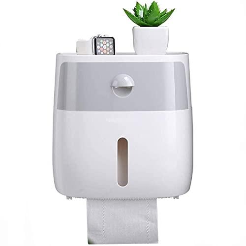 FayTun - Porta rotolo di carta igienica con ripiano e cassetto, impermeabile, con ripiano portaoggetti per bagno e cucina, dispenser per fazzoletti, grigio