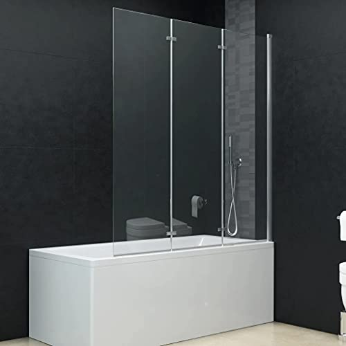 vidaXL Mampara Ducha 1 Hoja Plegable Pivotante Doble + 1 Hoja Fija Cristal Seguridad Vidrio Templado Cabina Baño Transparente Cierre Lateral Bañera