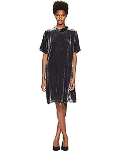 Eileen Fisher Velvet Mock Neck Short Sleeve Dress with Back Tie Charcoal LG