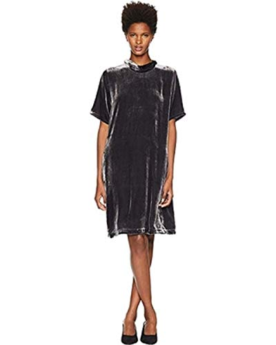 Eileen Fisher Velvet Mock Neck Short Sleeve Dress with Back Tie Charcoal MD