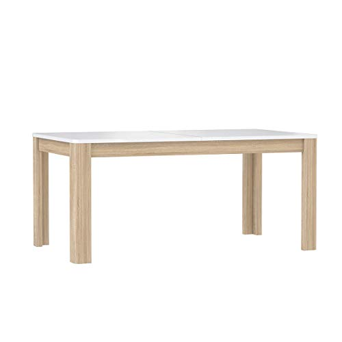 Meubletmoi eettafel, uittrekbaar, 160 cm, witte plaat en houten onderstel, modern design, collectie Alexiane Beige en wit