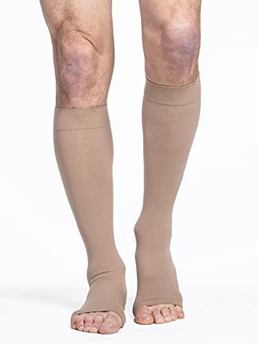 SIGVARIS Men's & Women's Essential Cotton 230 Open Toe Calf-High Socks 30-40mmHg