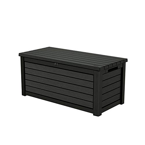 Keter Aufbewahrungsbox/Kissenbox Blackwood, 630 Liter trockener & belüfteter Stauraum - mit Gasdruckfedern - Deckel bis zu 350 kg belastbar