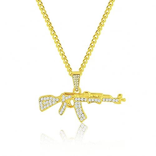 Collares pendientes de acero inoxidable chapado en oro Diamond Ice Out Cadena de cuerda de hip hop