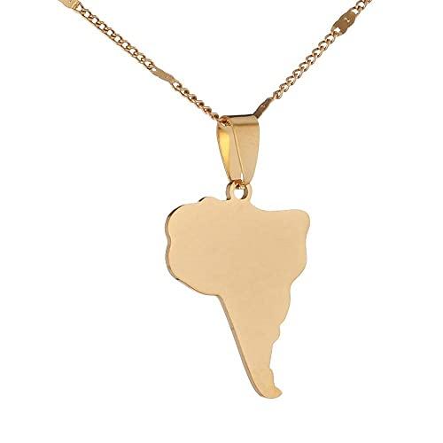 Kkoqmw Mapa de Acero Inoxidable de América del Sur Collar Colgantes Mapa Joyería del Encanto